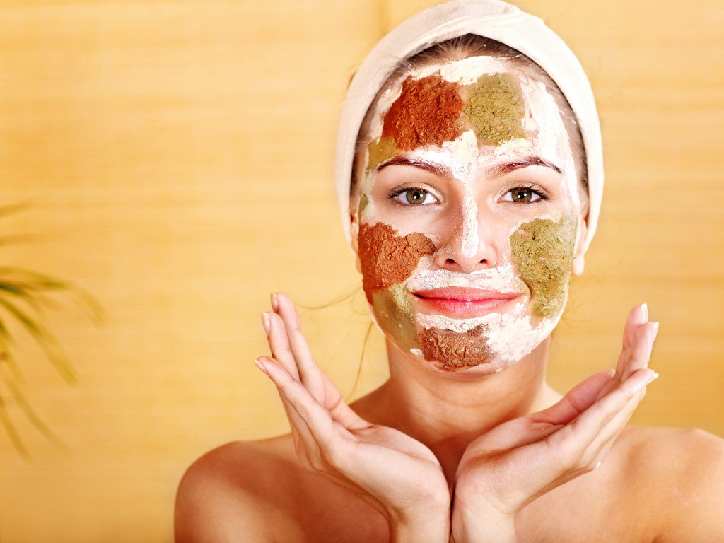 Natural homemade clay  facial masks at home .